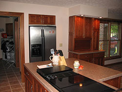 Kitchen Island, Tile, and Cabinets