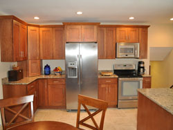 Kitchen Cabinets, Countertop, and Built-In Microwave