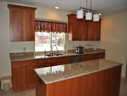 Kitchen Cabinets, Countertop, and Lights